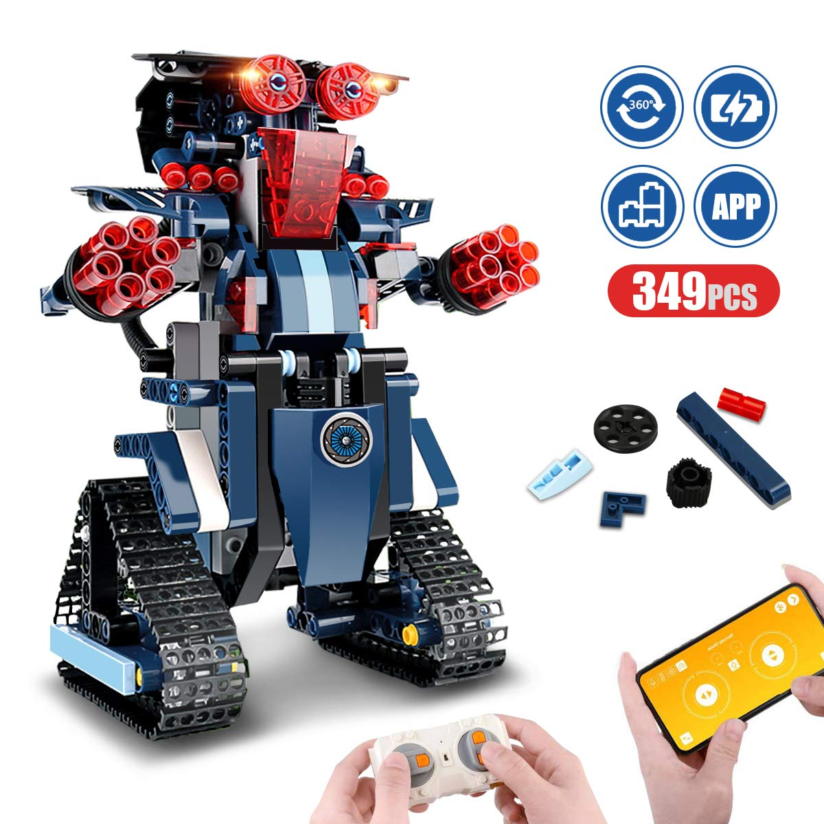 Remote Control Robot, RC Building Kit Building Block Robot Educational RC Robot Bricks STEM Toys Construction Engineering Building Blocks Learning Set Intelligent Gift for Kids Age 8 Years Old and up - wiihuu