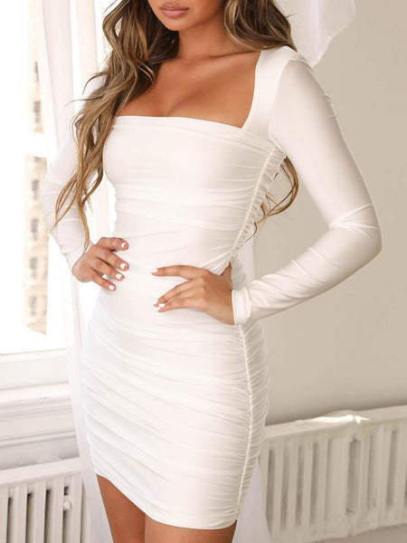Long Sleeve Dresses for Women Sexy Bodycon Party Club Night Mini Dresses (S, White) - wiihuu