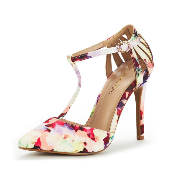 DREAM PAIRS Women's Oppointed-Mary Floral Fashion Dress High Heel Pointed Toe Wedding Pumps Shoes Size 5 M US - wiihuu