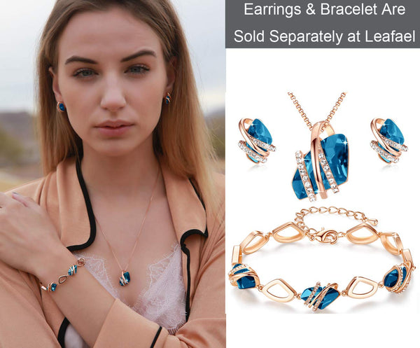 Leafael Wish Stone Pendant Necklace Made with Swarovski Crystals (Zircon Blue Rose Gold Plated) Gifts for Women December Birthstone Jewelry - wiihuu
