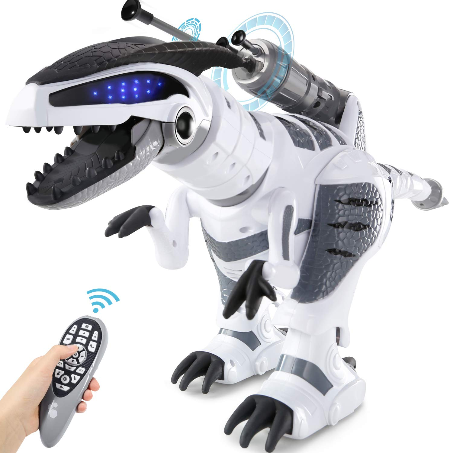 SGILE RC Dinosaur Robot Toy, Smart Programmable Interactive Walk Sing Dance for Kids Gift Present - wiihuu