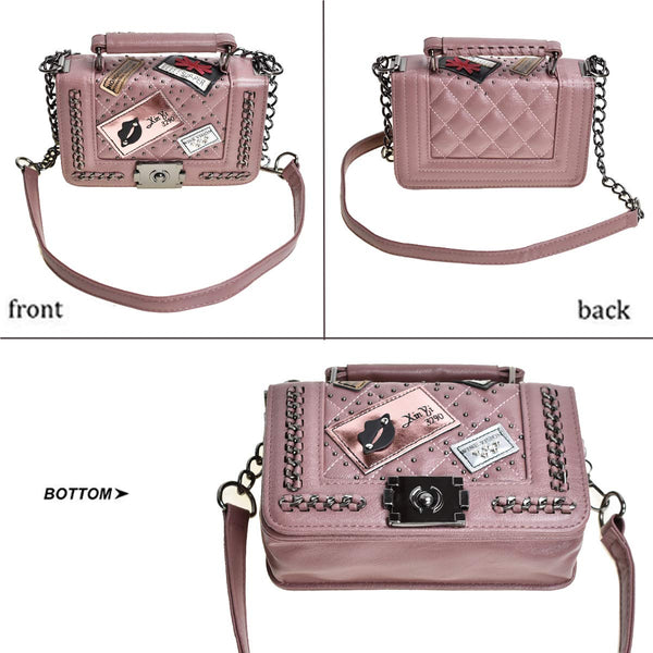 JZE Cross Body Fashion Rivet Chain Bag Single Shoulder PU Leather Side Purse Messenger Bag Hand bag for Women and Girls (Mauve), Small - wiihuu