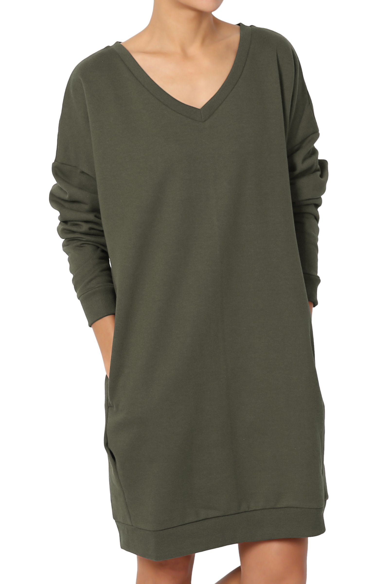 TheMogan Women's Casual V-Neck Pocket Loose Sweatshirt Tunic Olive M/L - wiihuu