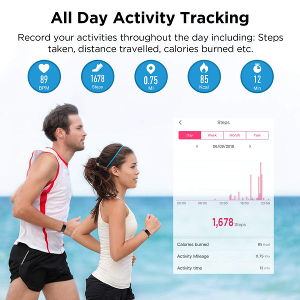 Letsfit Fitness Tracker, Activity Tracker Watch with Heart Rate Monitor, IP68 Waterproof Fitness Wristband with Step Counter, Calorie Counter, Smart Watch for Kids, Women and Men - wiihuu