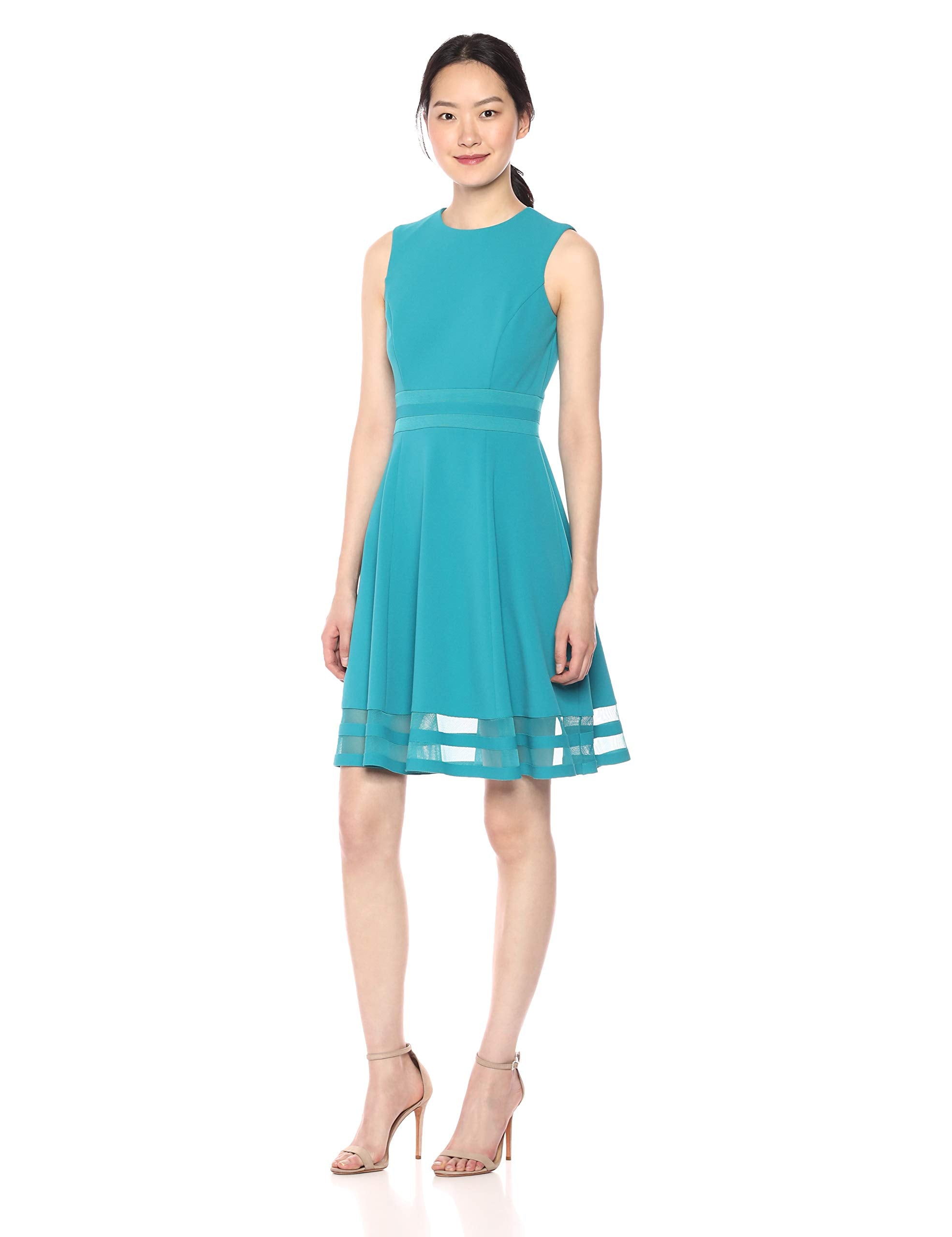 Calvin Klein Women's Sleeveless Round Neck Fit and Flare Dress with Sheer Inserts, Lagoon, 14 - wiihuu