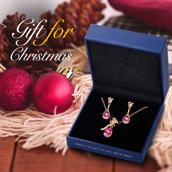 CDE Jewelry Set for Women Pink Flower Rose Gold Plated Pendant Embellished with Crystals from Swarovski Necklace and Earrings Set Gift for Thanksgiving Christmas - wiihuu