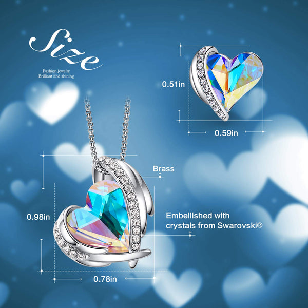 CDE Women Jewelry Set Heart Pendant Necklace and Studs Earrings Embellished with Crystals from Swarovski Jewelry for Women - wiihuu