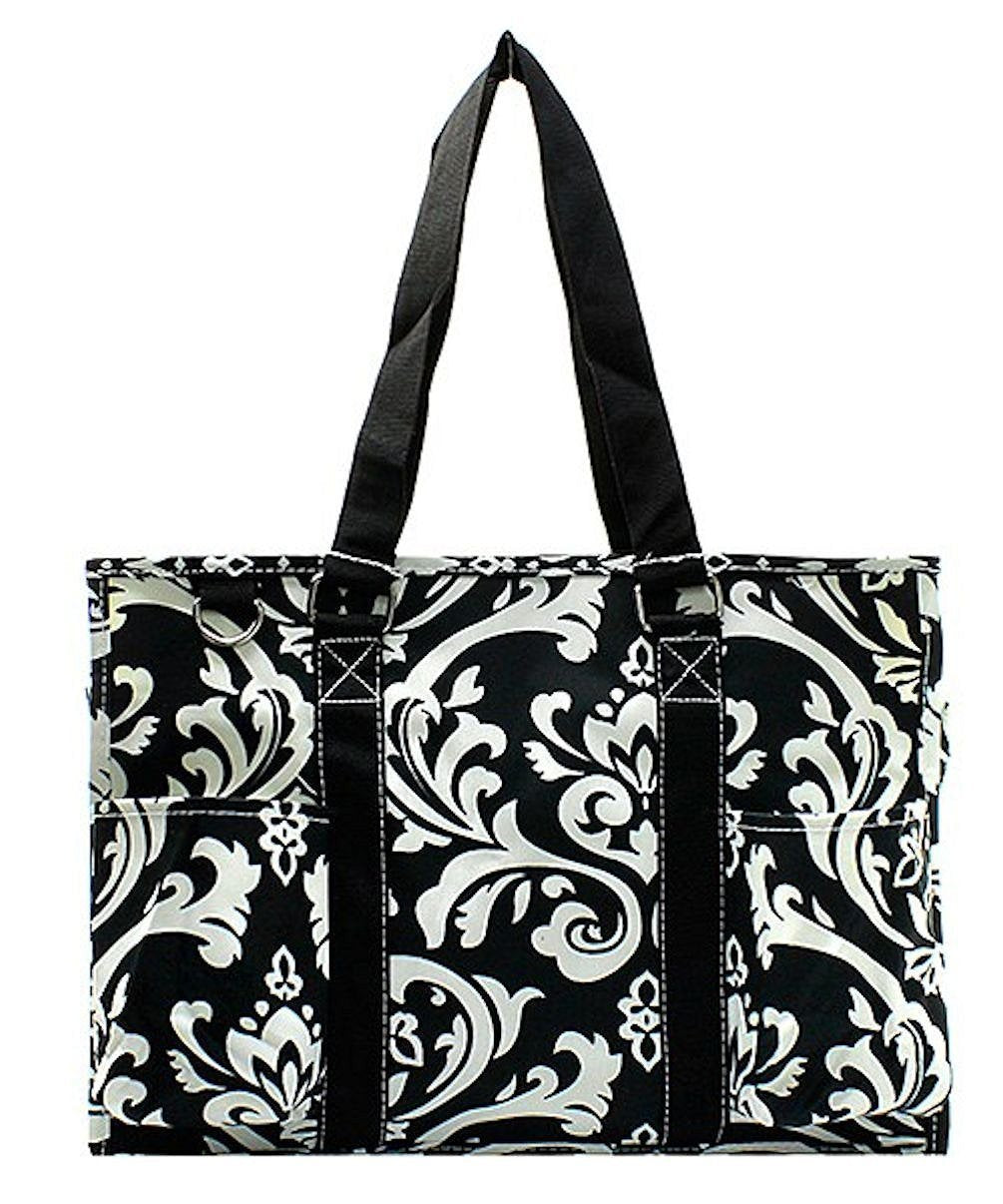 N Gil All Purpose Organizer Medium Utility Tote Bag 2 (Damask Black) - wiihuu