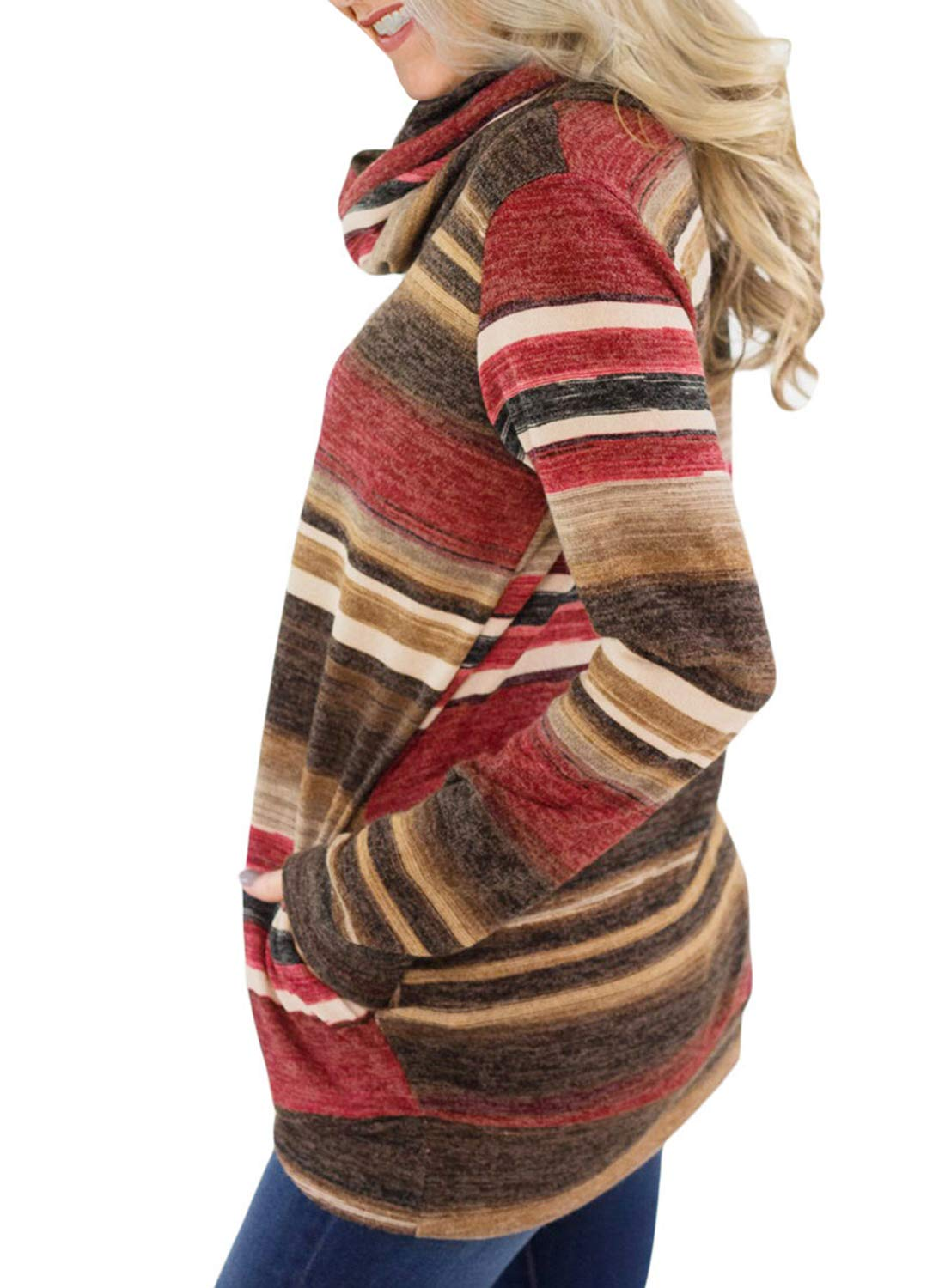 Asvivid Womans Cute Turtle Cowl Neck Colorblock Striped Sweatshirt Drawstring Juniors Sweater Pullover Tops Plus Size 1X Red - wiihuu