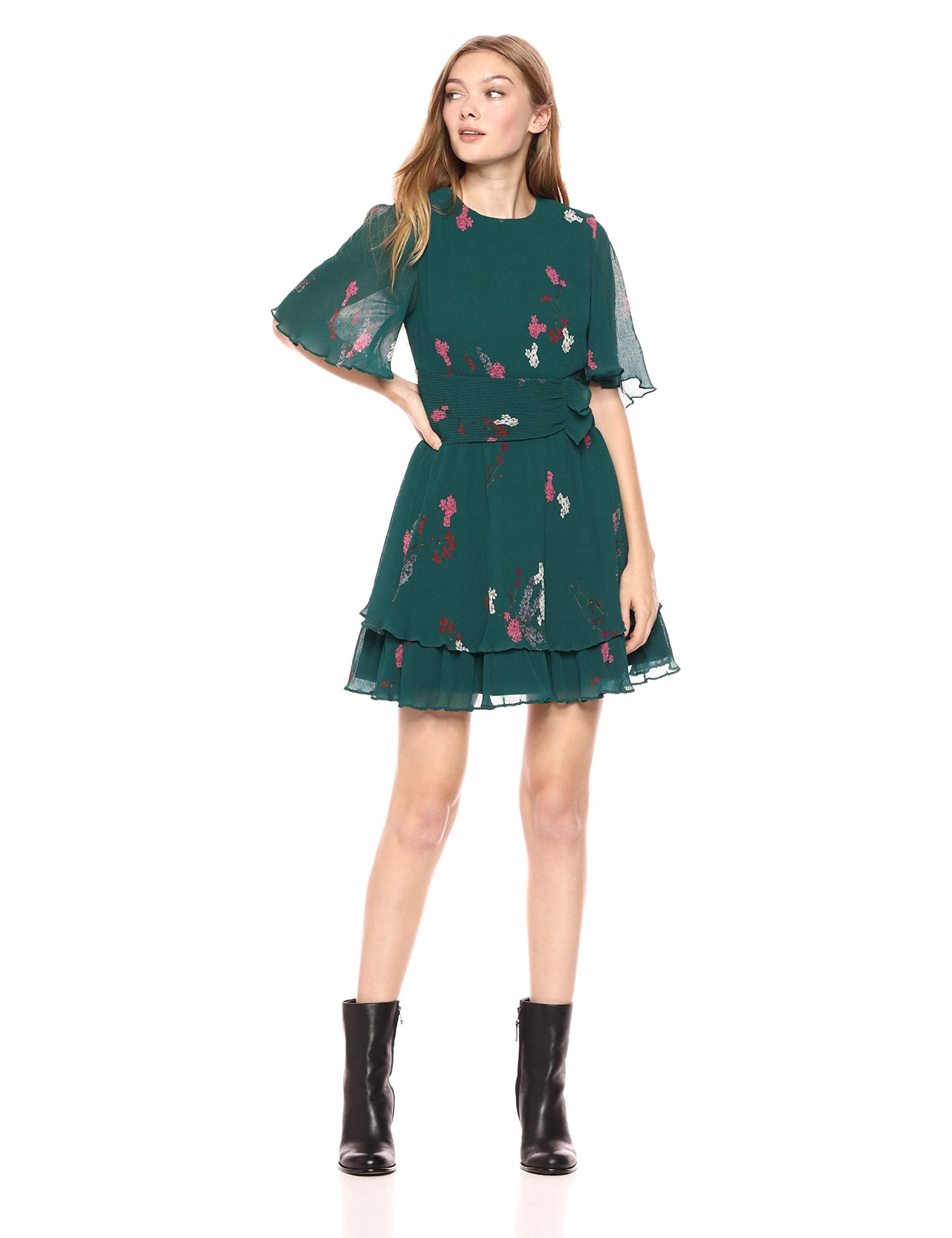 Keepsake The Label Women's Nightfall Accordion Pleated Short Sleeve FIT & Flare Dress, Emerald Floral, M - wiihuu