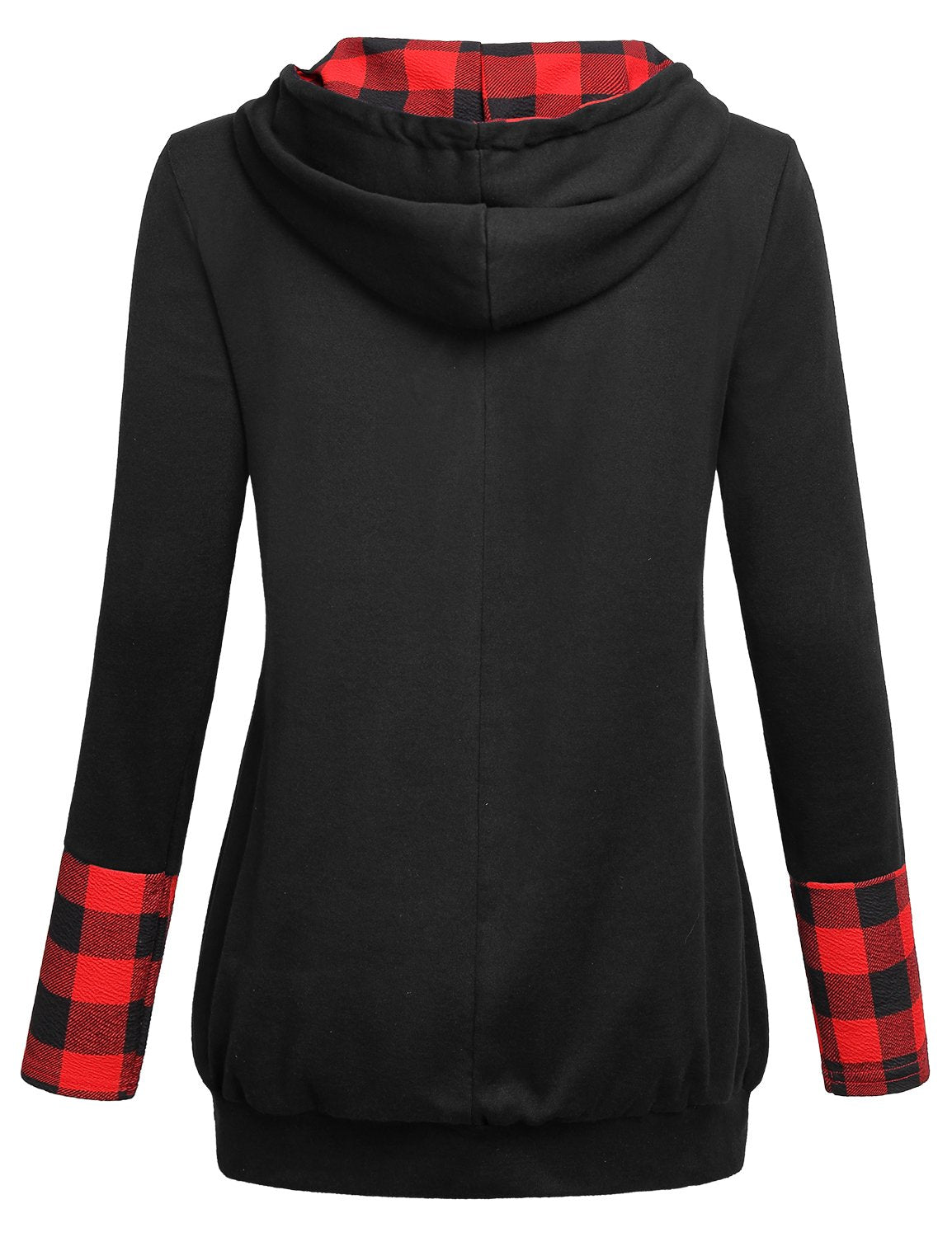 Cestyle Tunic Sweatshirts for Women Hooded,Juniors Long Sleeve V Neck Red Plaid Hoodie Casual Color Block Loose Pullover Shirts with Kangaroo Pocket Black Medium - wiihuu