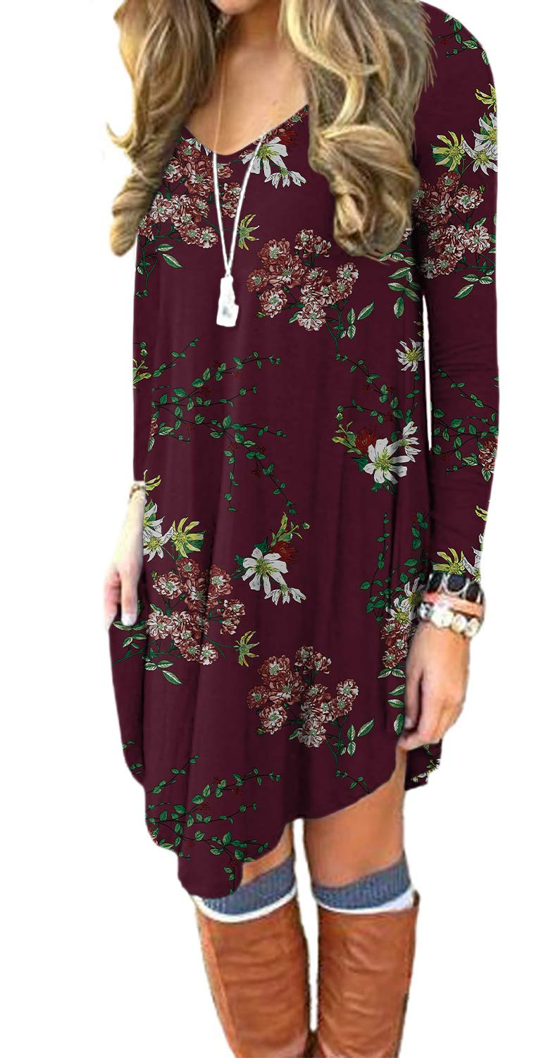 DEARCASE Women's Long Sleeve Casual Loose T_Shirt Dress Floral Wine Red XX_Large - wiihuu