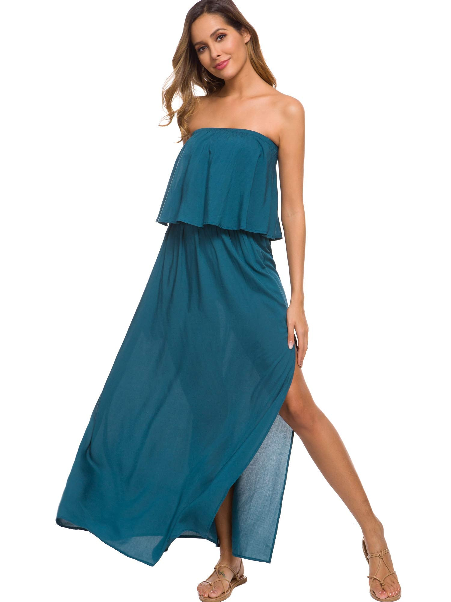 Women's Strapless Maxi Dress Petite Length Cotton Ruffle Boho Side Split Long Dress with Pockets (S, Teal) - wiihuu