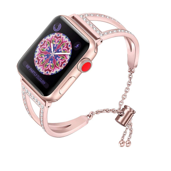 RUOQINI Compatible with Apple Watch Band,Jewelry Bangle Cuff Women Girls Adjustable Stainless Steel Bracelet for IwatchBands of Series 4/3/2/1,42mm 44mm SZ-A Rose Gold - wiihuu