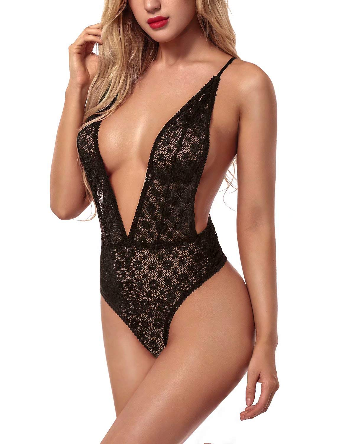 Garmol Women Lingerie One Piece Lace Teddy Plunging Bodysuit Crisscross Straps Nightwear Black Small - wiihuu