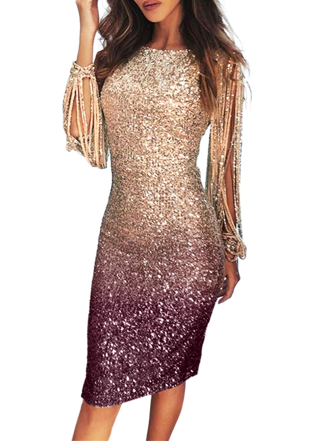 Lovezesent Womens Formal Sequin Prom Evening Party Dress Sexy Sheath Midi Cocktail Party Dresses for Ladies Apricot Purple Medium - wiihuu