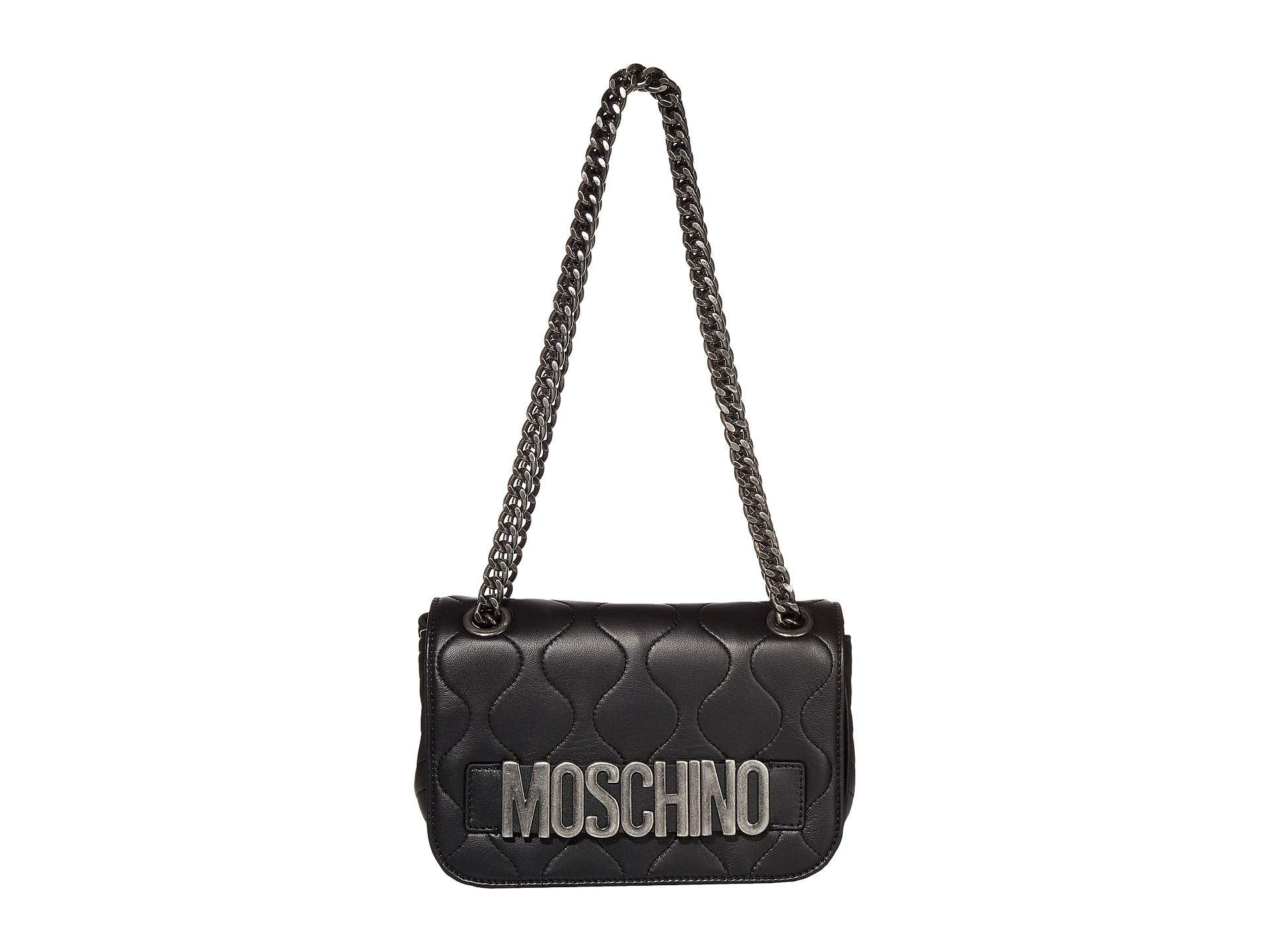Moschino Leather Quilted Logo Crossbody Black One Size - wiihuu