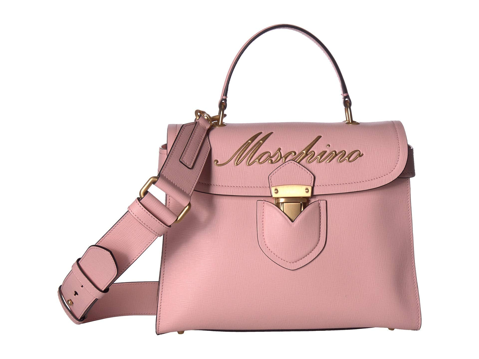 Moschino Womens Embroidered Logo Top-Handle Box Satchel Rose Saffiano One Size - wiihuu