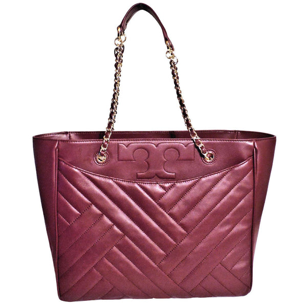 Tory Burch 50641 Alexa Qulten Chain Imperial Shoulder Bag (Imperial Garnet) - wiihuu