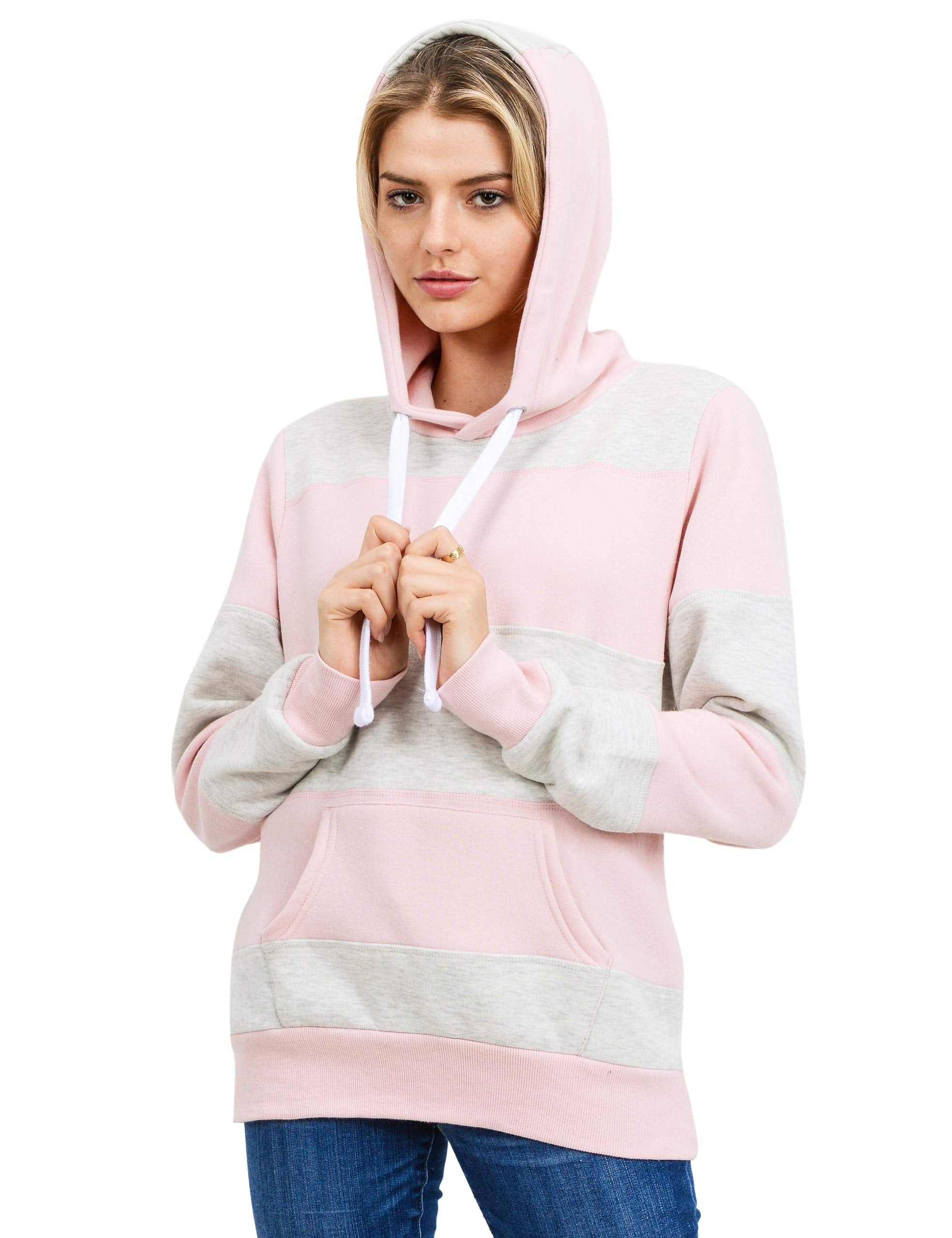 Women's Ultra Soft Fleece Color Block Pullover Hoodie Sweatshirt, Blush/Oatmeal, X-Small - wiihuu