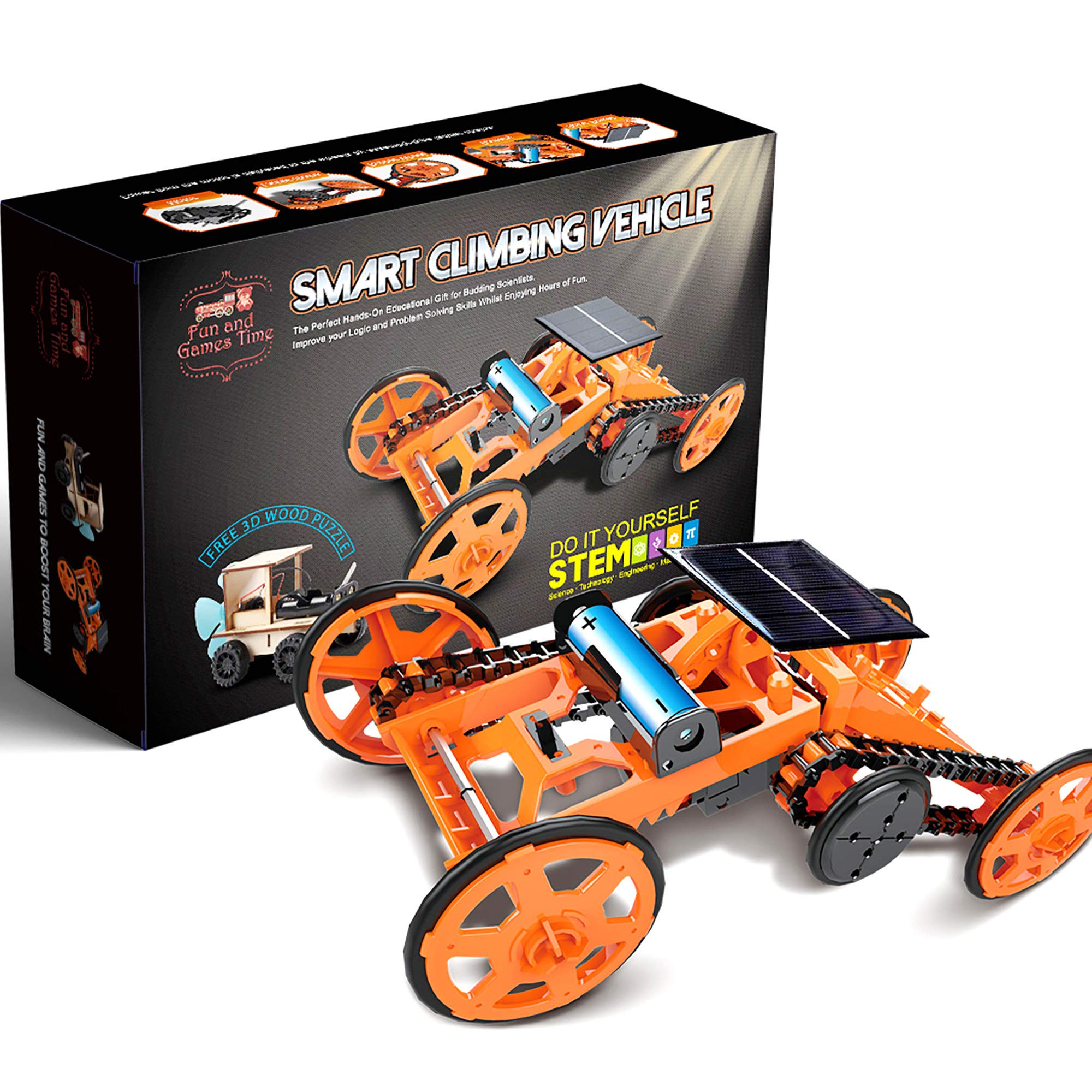 BEST Smart Climbing Vehicle, Educational STEM Learning Toy Assembly Kit, Solar Powered Mechanical Circuit Building 4WD Robotic Motor Car Set for Science Project, Engineering, Birthday & Christmas Gift - wiihuu