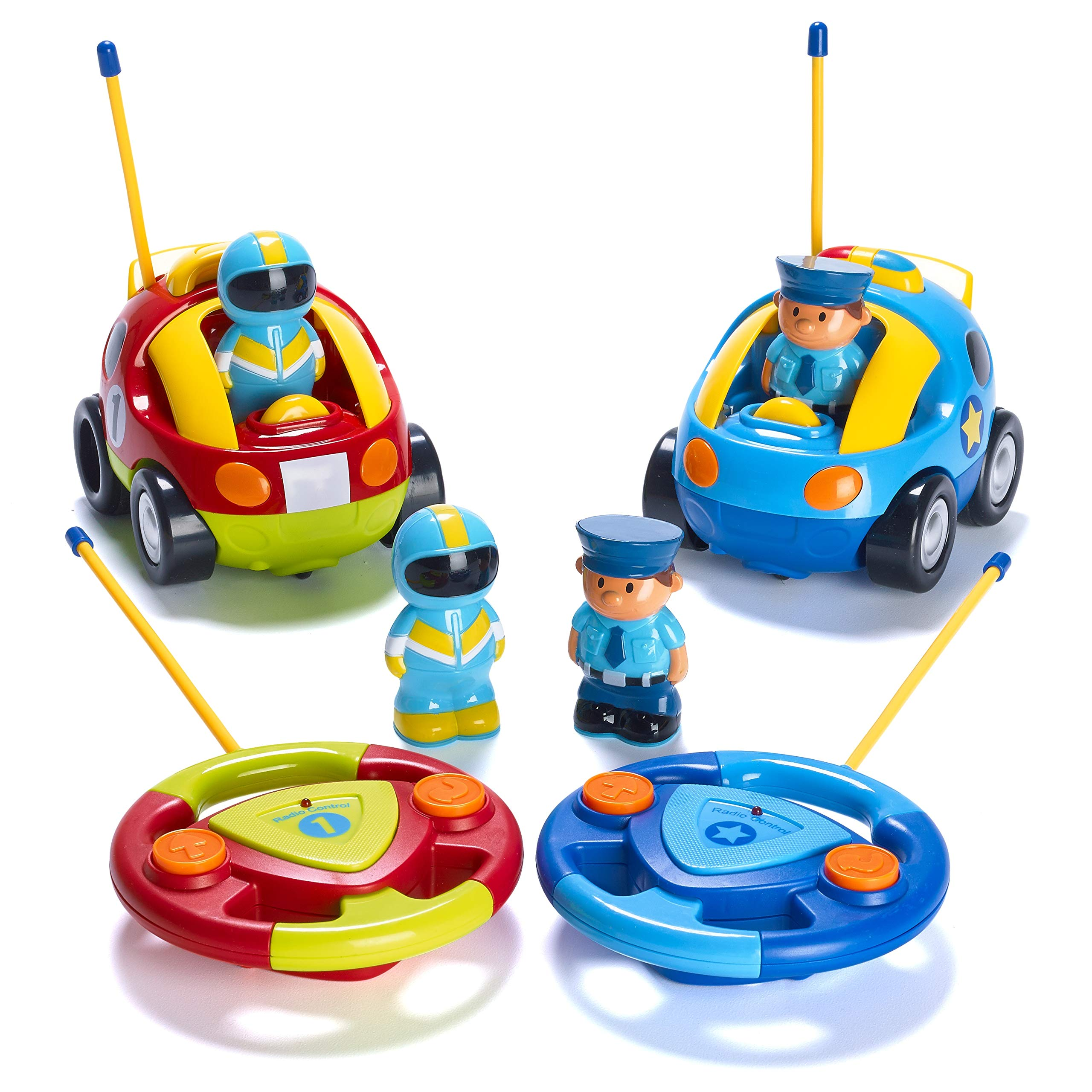 Prextex Pack of 2 Cartoon R/C Police Car and Race Car Radio Control Toys for Kids- Each with Different Frequencies So Both Can Race Together - wiihuu