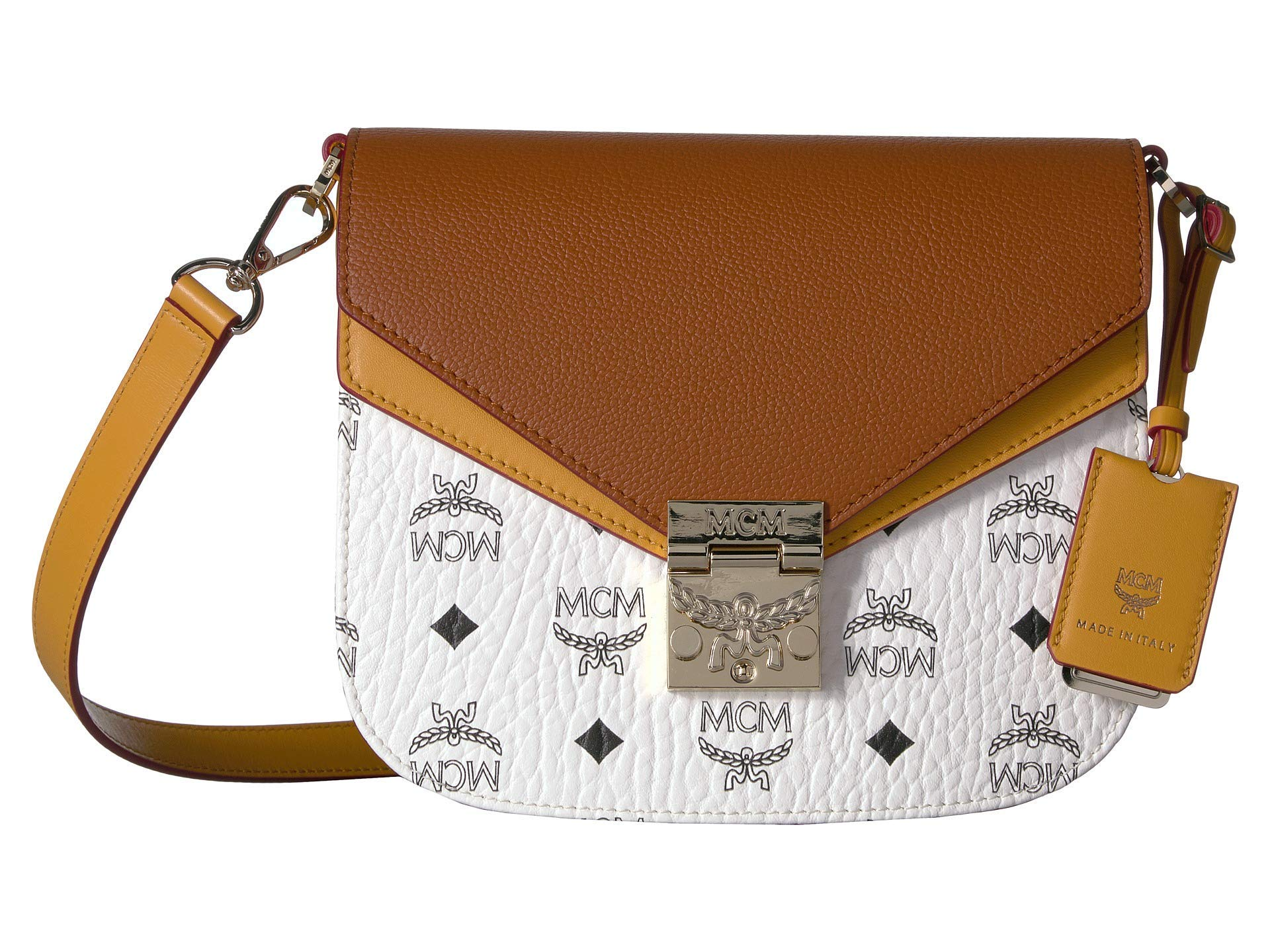 MCM Women's Patricia Visetos Leather Block Shoulder Small White/Cognac One Size - wiihuu