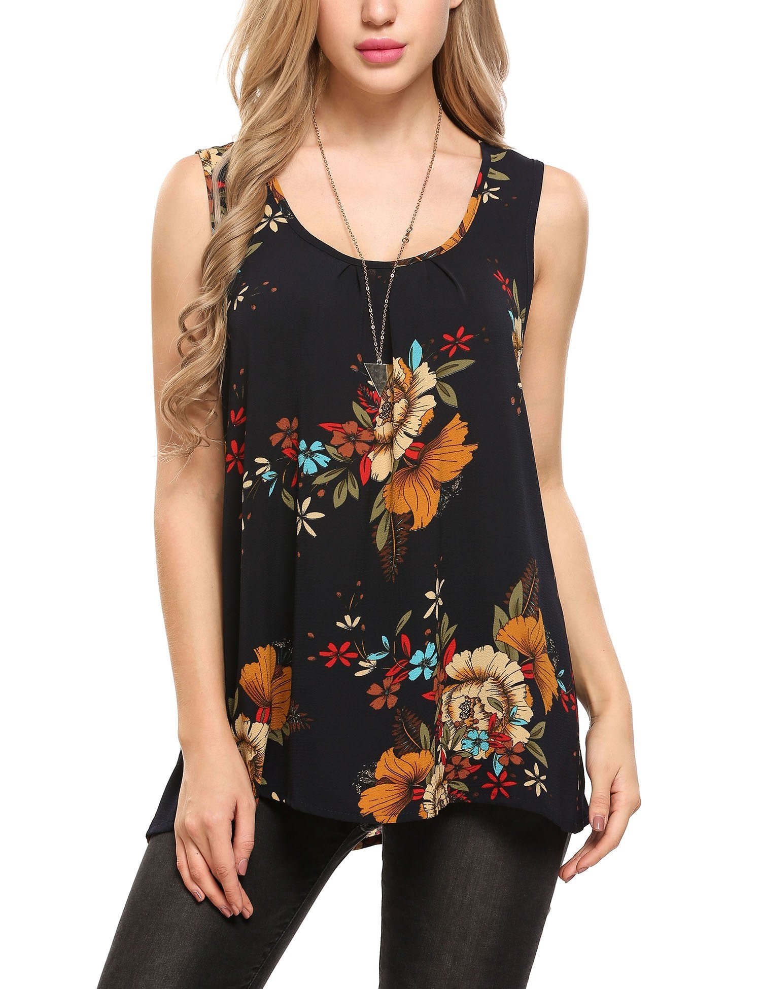 Zeagoo Women/'s Sleeveless Summer Flowy Top Chiffon Floral Loose Tunic Tank Tops, Floral 1, X-Large - wiihuu