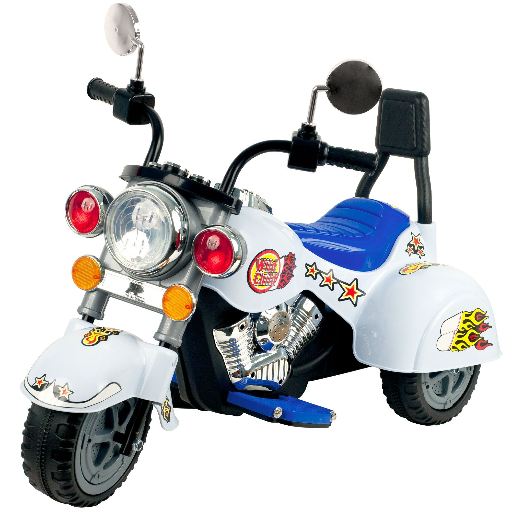 Ride on Toy, 3 Wheel Trike Chopper Motorcycle for Kids by Lil' Rider - Battery Powered Ride on Toys for Boys and Girls, Toddler and Up - White - wiihuu