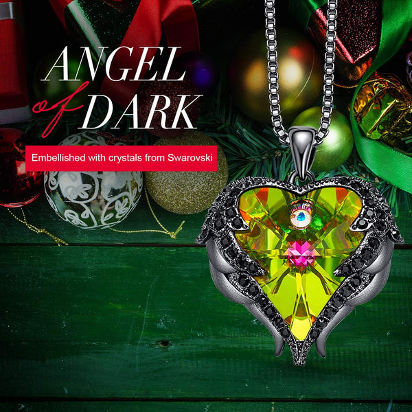 CDE Angel Wing Necklaces for Women Embellished with Crystals from Swarovski Pendant Necklace Heart of Ocean Jewelry - wiihuu