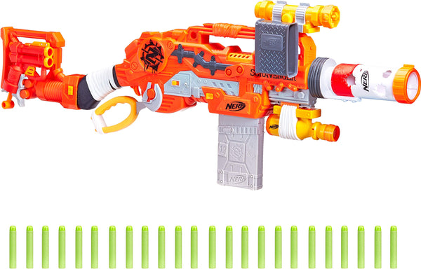 Scravenger Nerf Zombie Strike Toy Blaster with Two 12-Dart Clips, 26 Darts, Light, Barrel Extension, X 40Mm, Stock, 2-Dart Blaster - For Kids, Teens, Adults - wiihuu