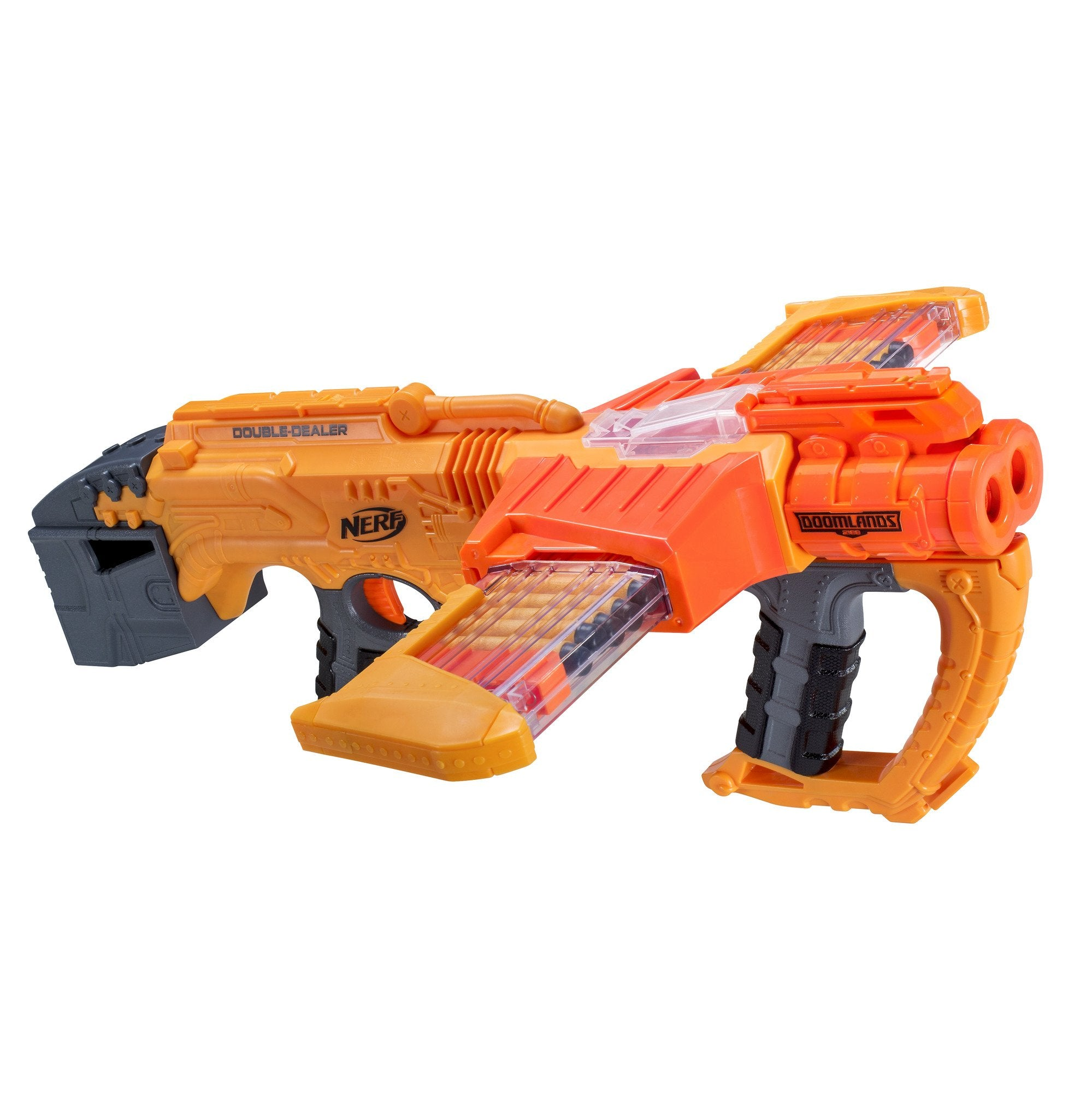 NERF Doomlands Blaster Double Dealer Toy Blaster with Two 12-Dart Clips & 24 Official Elite Darts for Kids, Teens, & Adults, Orange, Standard - wiihuu