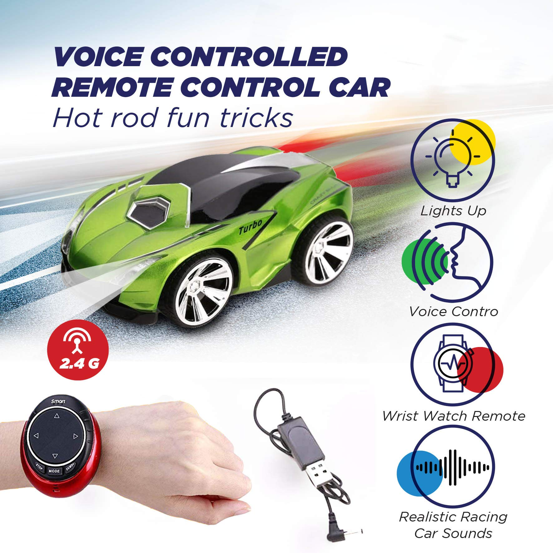 Remote Control Car with Voice Activation - Hand and Voice Activated Wrist RC Smart Watch - Rechargeable Race Car with USB Cable for Kids - Super Action Light Effects - Green - wiihuu