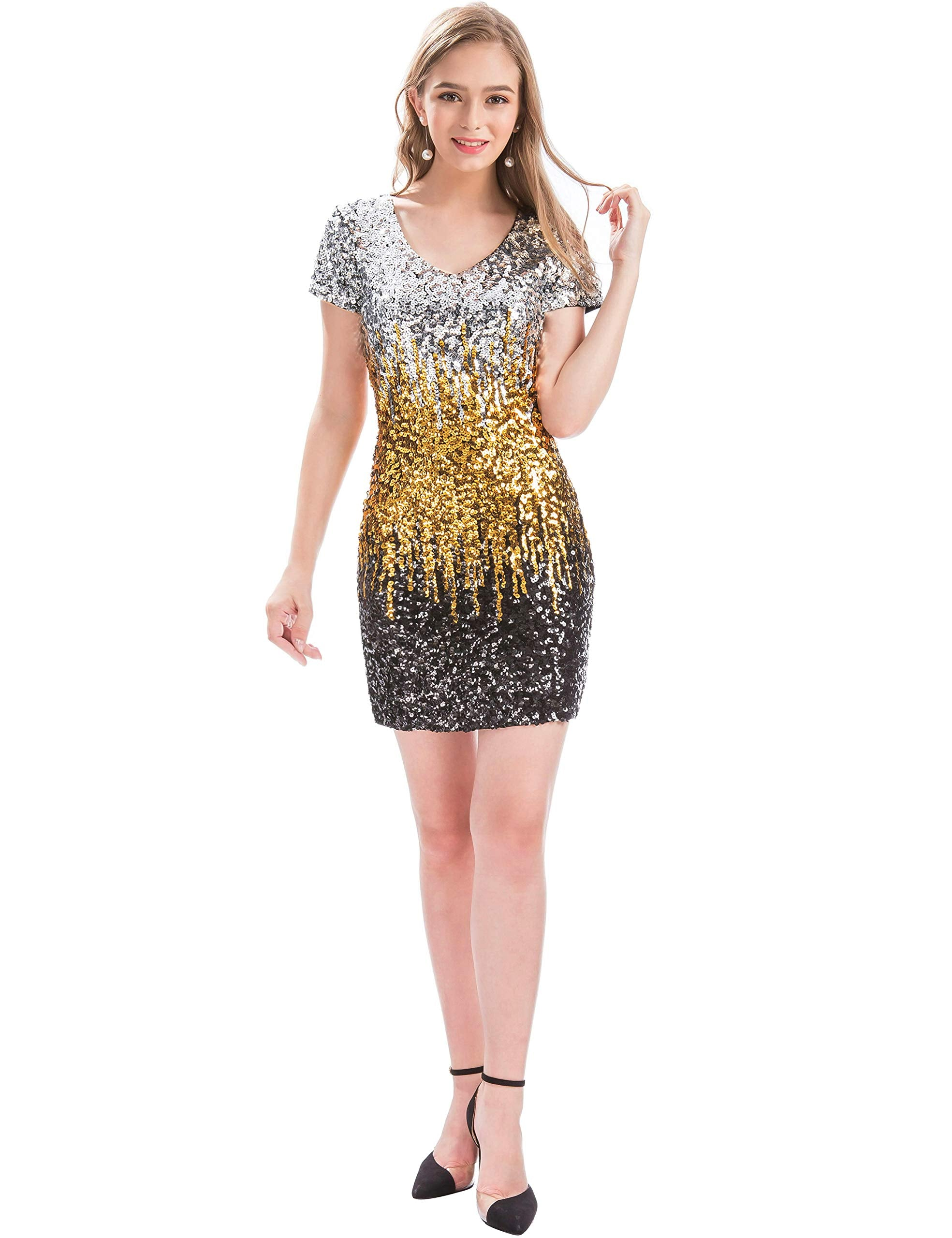 MANER Women's Sequin Glitter Short Sleeve Dress Sexy V Neck Mini Party Club Bodycon Gowns(M,Gold) - wiihuu