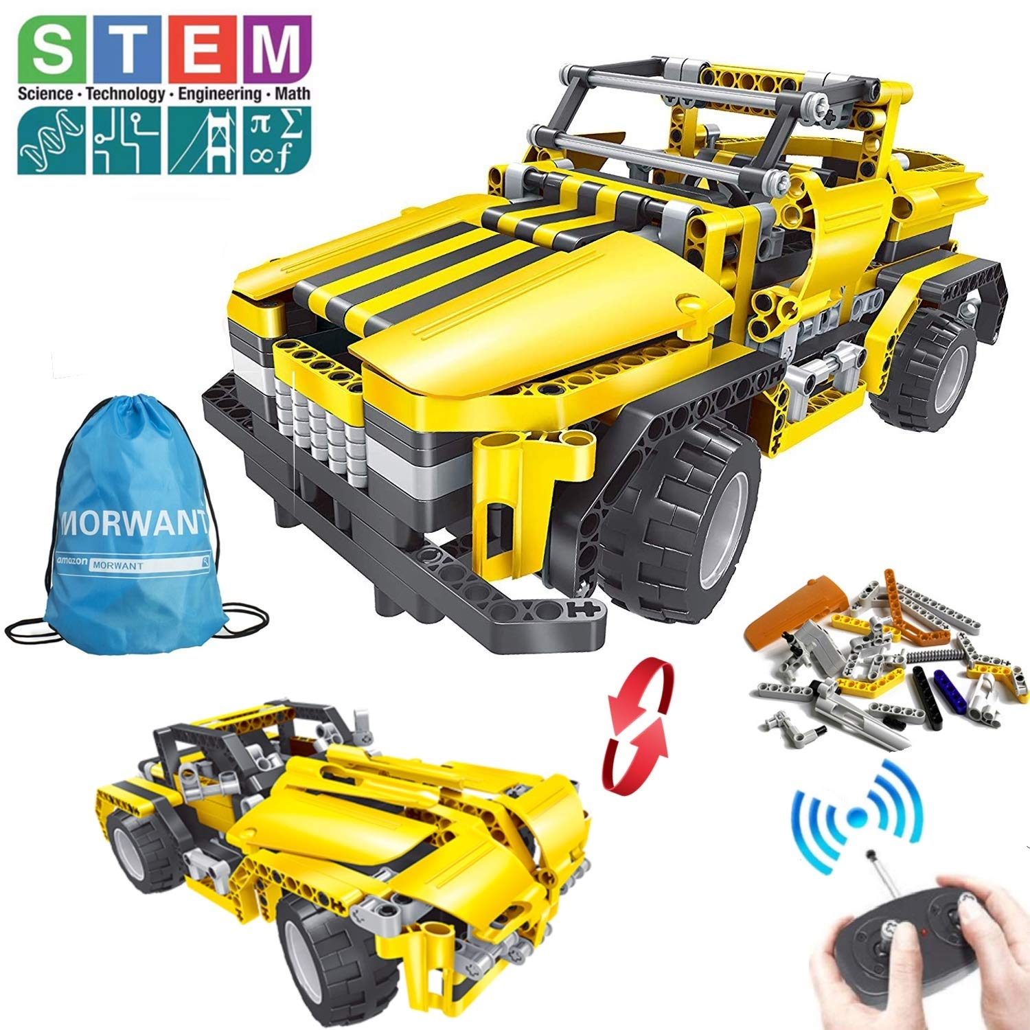 2-in-1 Remote Control Car Building Set | STEM Learning Kits for Boys and Girls 6-12 | Best Engineering Toy Gift for Kids Ages 7,8,9,14 Year Old (426pcs) - wiihuu