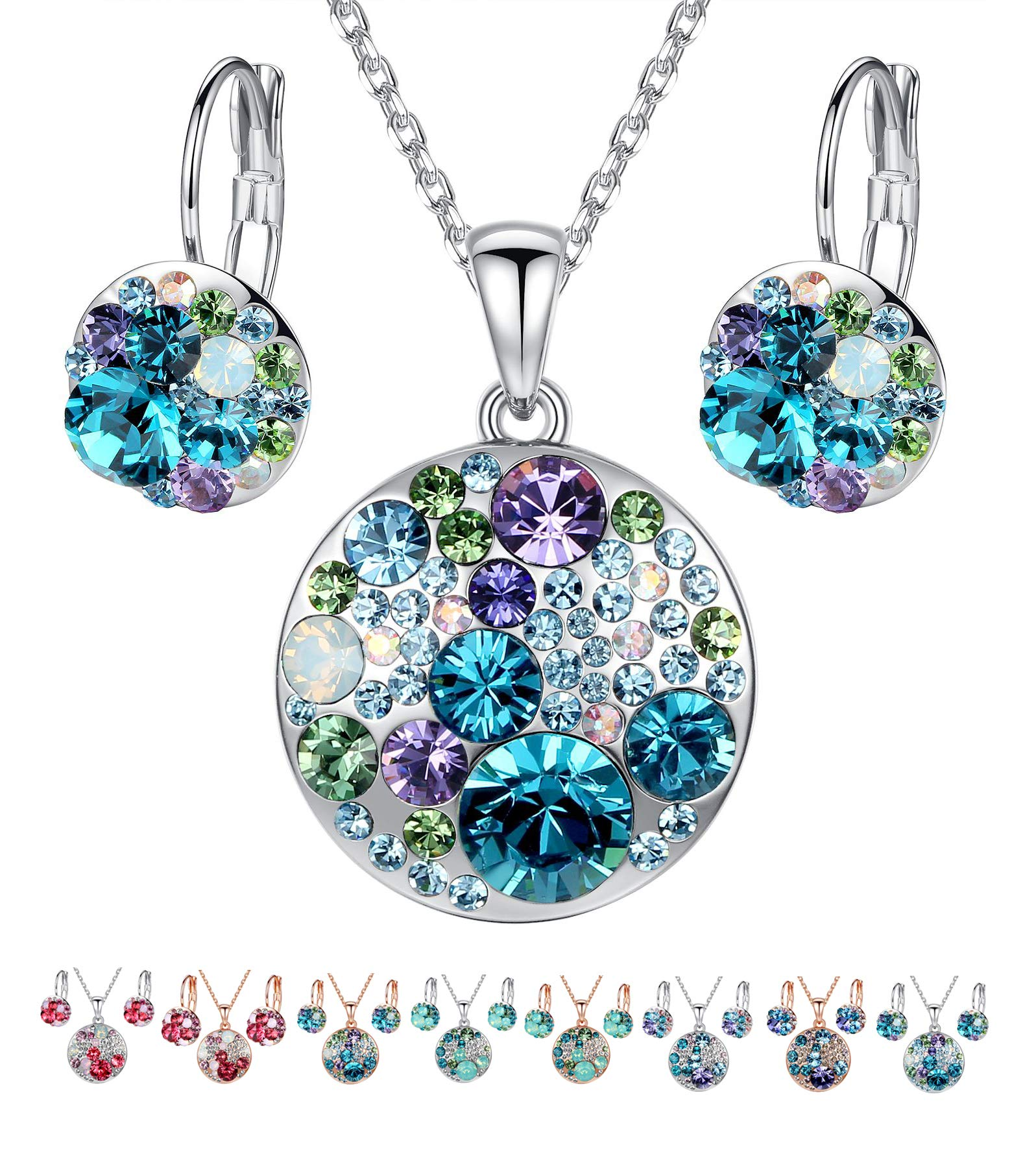 "Leafael Ocean Bubble Women's Jewelry Set Made with Swarovski Crystals Light Sapphire Blue Green Purple Costume Fashion Pendant Necklace Earring Set, Silver Tone, 18"" + 2"", Gifts for Women - wiihuu"