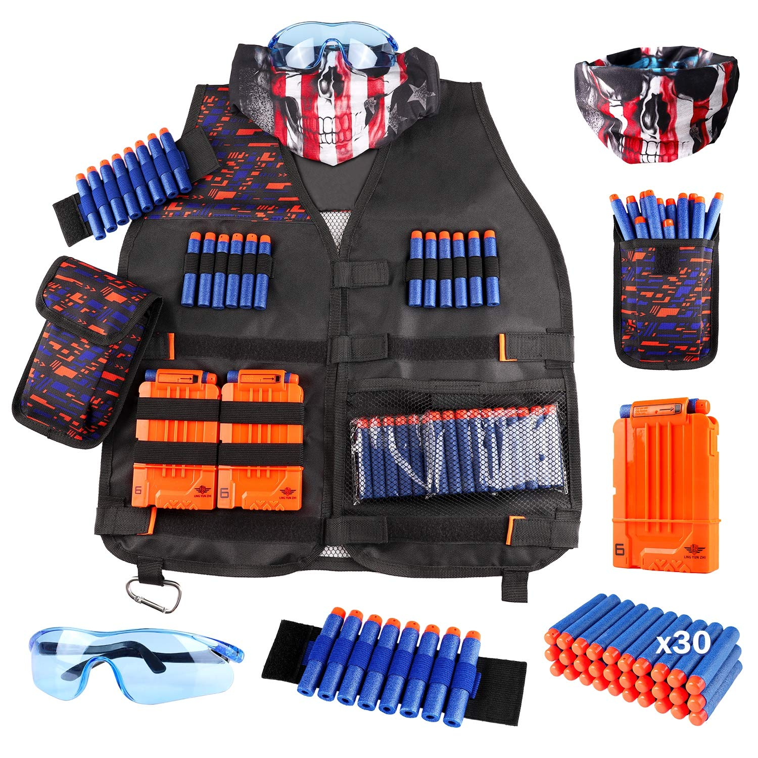 Kids Tactical Vest Kit for Nerf Guns N-Strike Elite Series with Refill Darts Dart Pouch, Reload Clip Tactical Mask Wrist Band and Protective Glasses for Boys - wiihuu