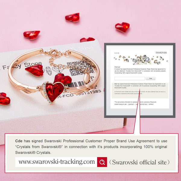 CDE Rose Gold Bangle Bracelets Red Heart Jewelry Birthstone Bracelet Crystals from Swarovski Birthday Gifts for Her - wiihuu