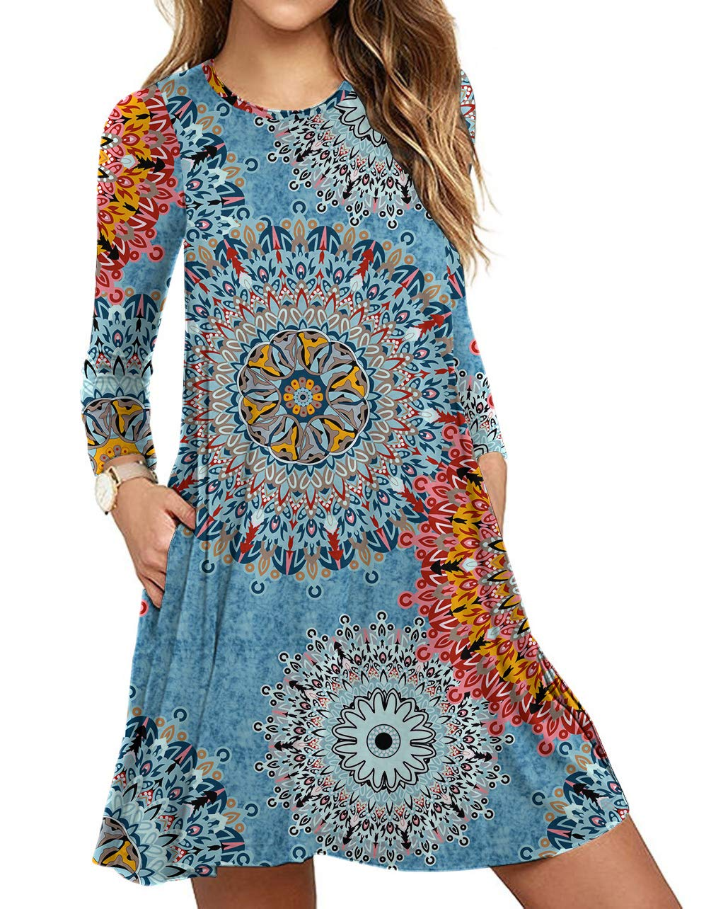Womens Comfy Swing Tunic Long Sleeve Pocket Floral Print T-Shirt Dress Floral Mix Blue Medium - wiihuu