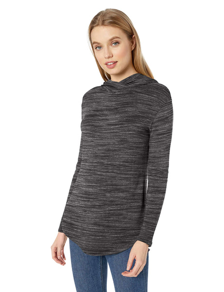 Amazon Brand - Daily Ritual Women's Supersoft Terry Long-Sleeve Hooded Pullover, Charcoal Grey Spacedye, Medium - wiihuu