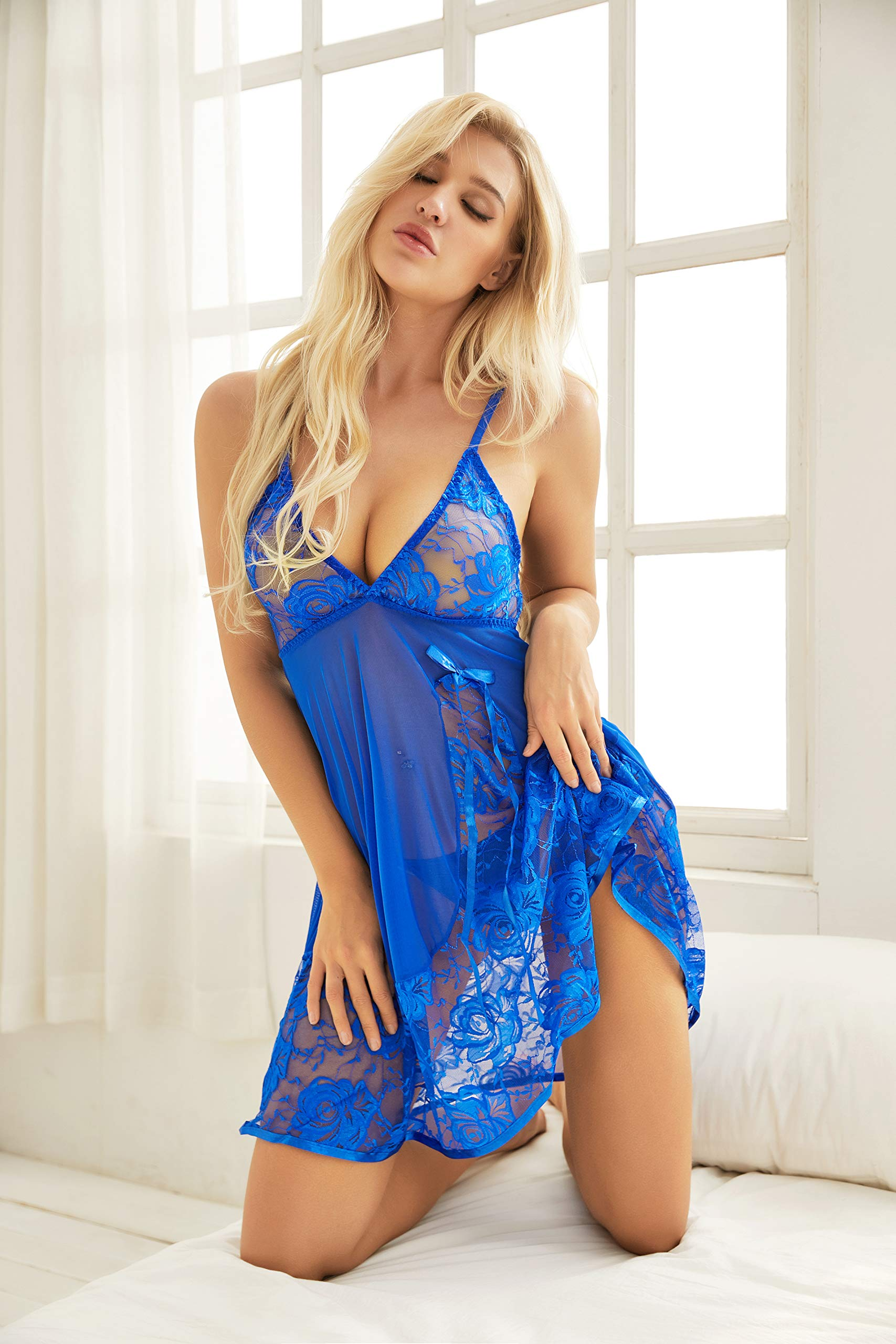 ADOREJOY Womens Babydoll Lingerie Set Plus Size Sleepwear(XL,Blue) - wiihuu