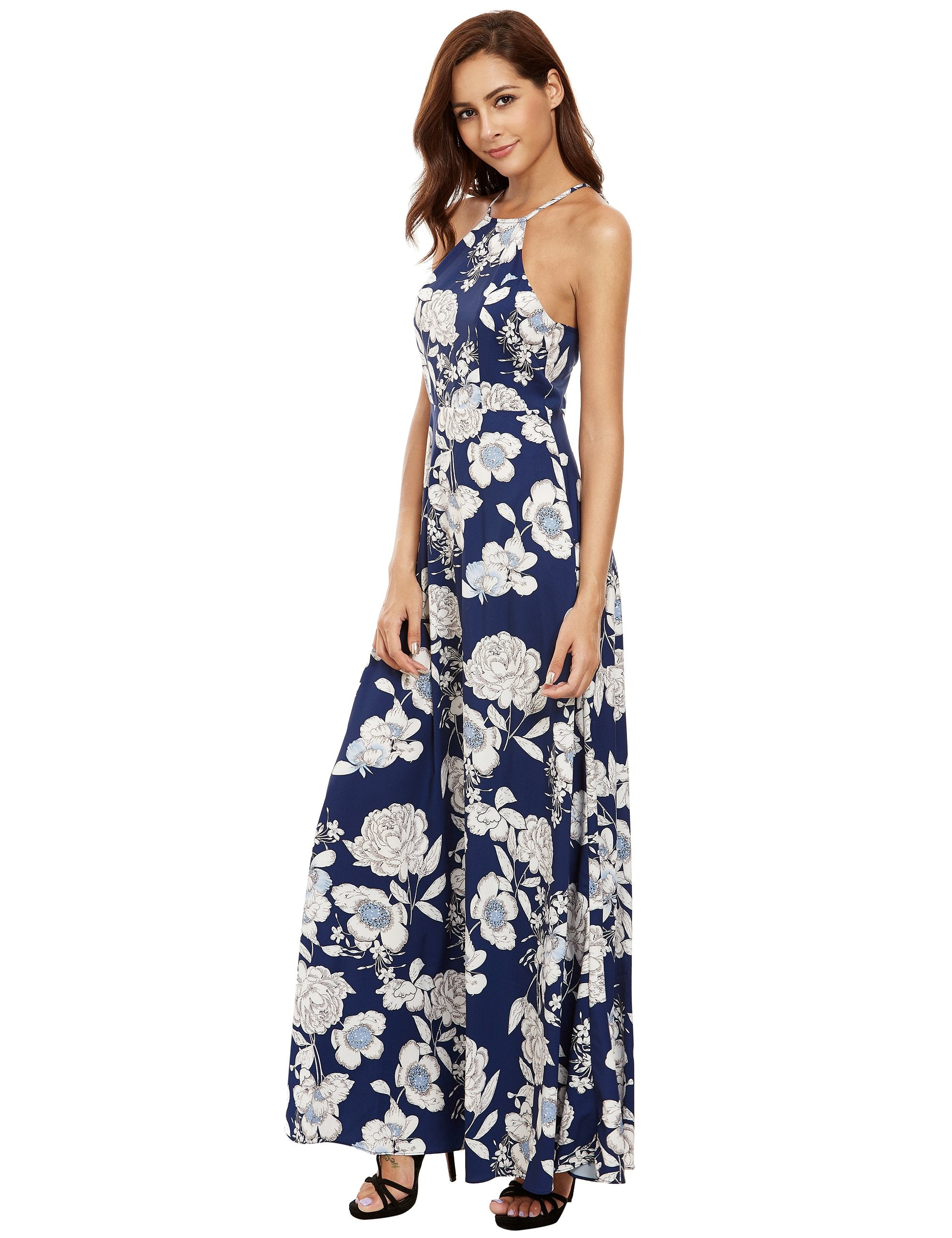 Floerns Women's Sleeveless Halter Neck Vintage Floral Print Maxi Dress - wiihuu