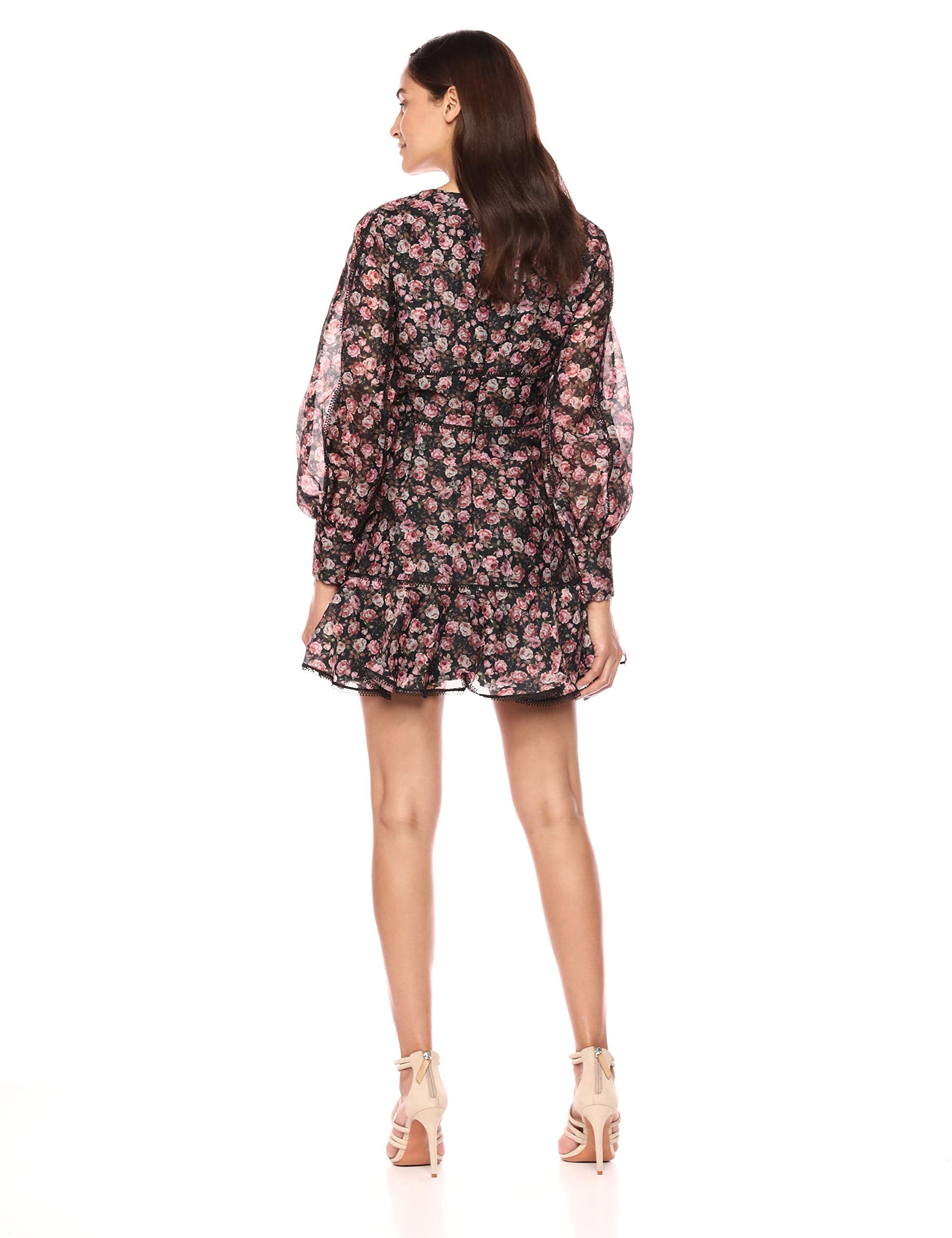 Keepsake The Label Women's ONE Love Puff Sleeve FIT & Flare Floral Longsleeve Dress, Black Rose, L - wiihuu