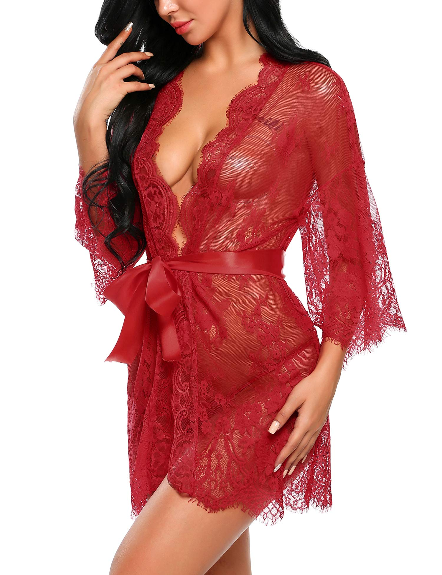 Avidlove Lingerie for Women Sexy Women's Lace Kimono Robe Babydoll Lingerie Mesh Nightgown Dark Red XL - wiihuu