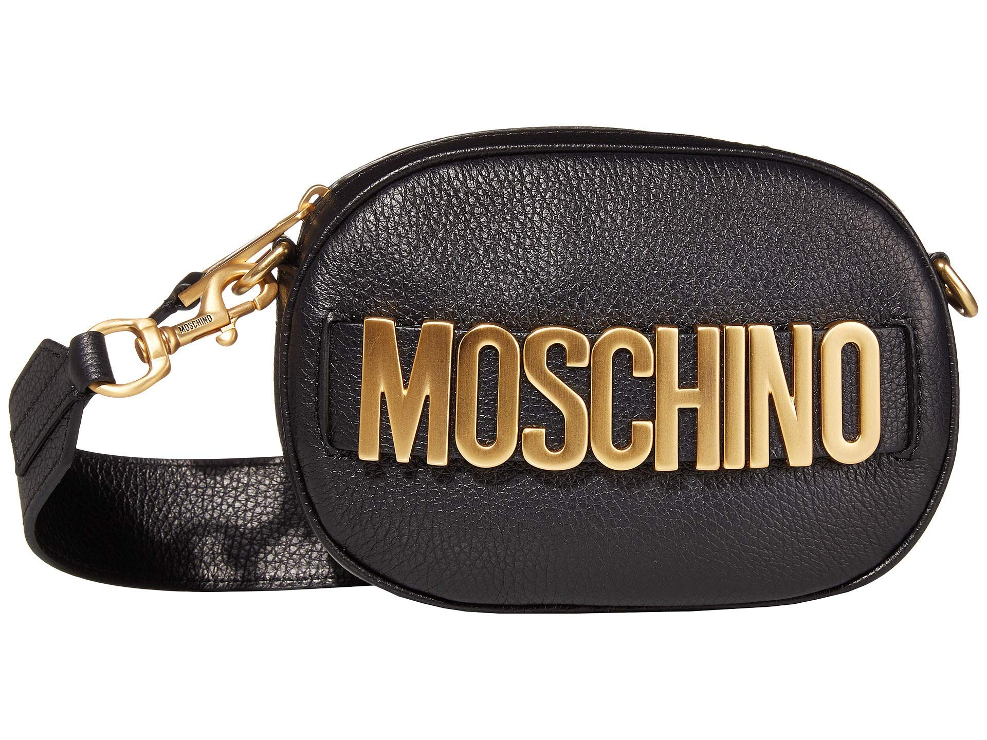 Moschino Leather Logo Crossbody Black One Size - wiihuu