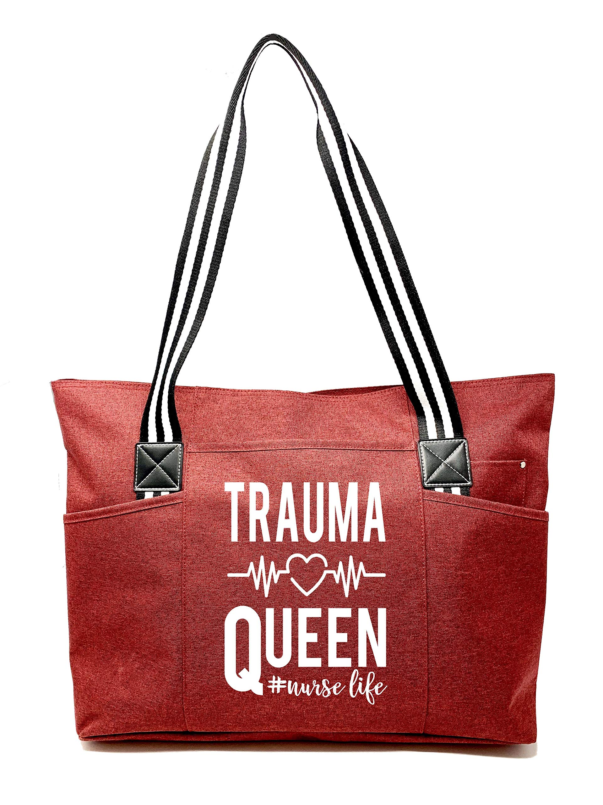 "Large Nursing""Premium"" Zippered Tote Bags with Pockets and Inside Lining for Nurses - Trauma Queen Red - Perfect for Work, Gifts for CNA, RN, Nursing Students - wiihuu"