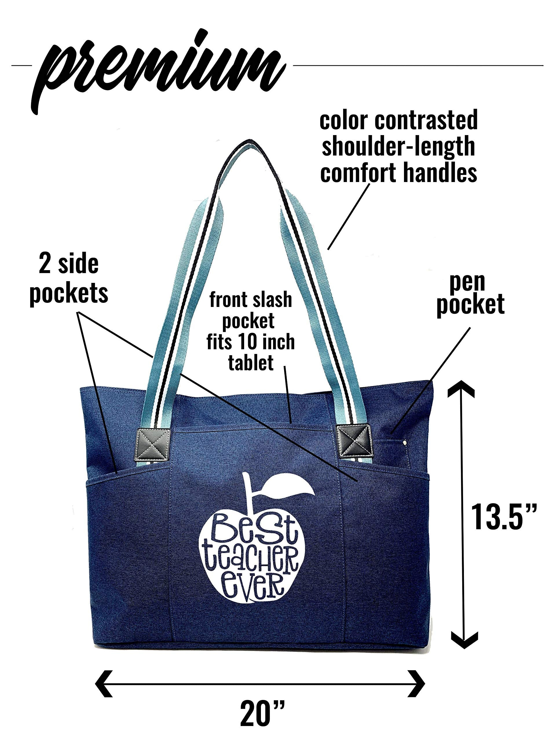 "Large Teacher""Premium"" Zippered Tote Bags with Pockets and Inside Lining for Teachers - Best Teacher Apple Blue - Perfect for Work, Gifts for Teachers, Educators, Teaching Assistants - wiihuu"