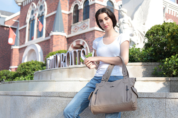 Handbag Hobo Women Shoulder Bag/Handbag Roomy Multiple Pockets Fashion PU Tote, Beige - wiihuu