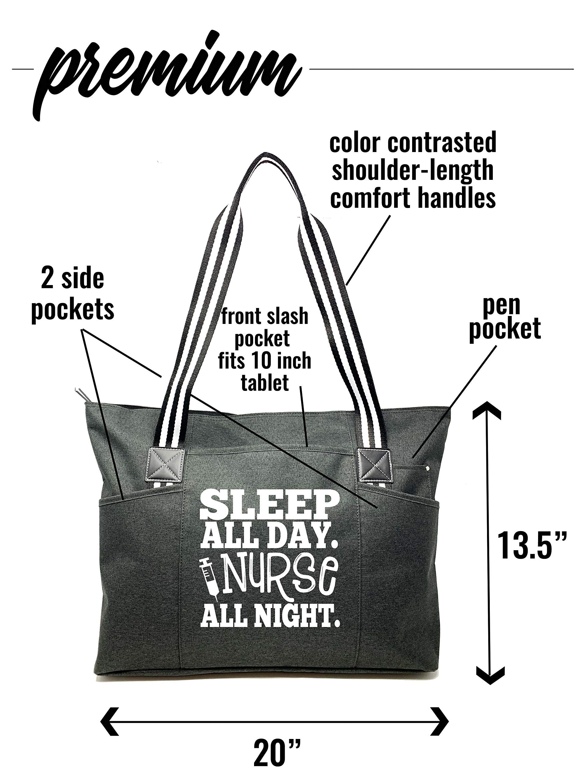 "Large Nursing""Premium"" Zippered Tote Bags with Pockets and Inside Lining for Nurses - Nurse All Night Black - Perfect for Work, Gifts for CNA, RN, Nursing Students - wiihuu"