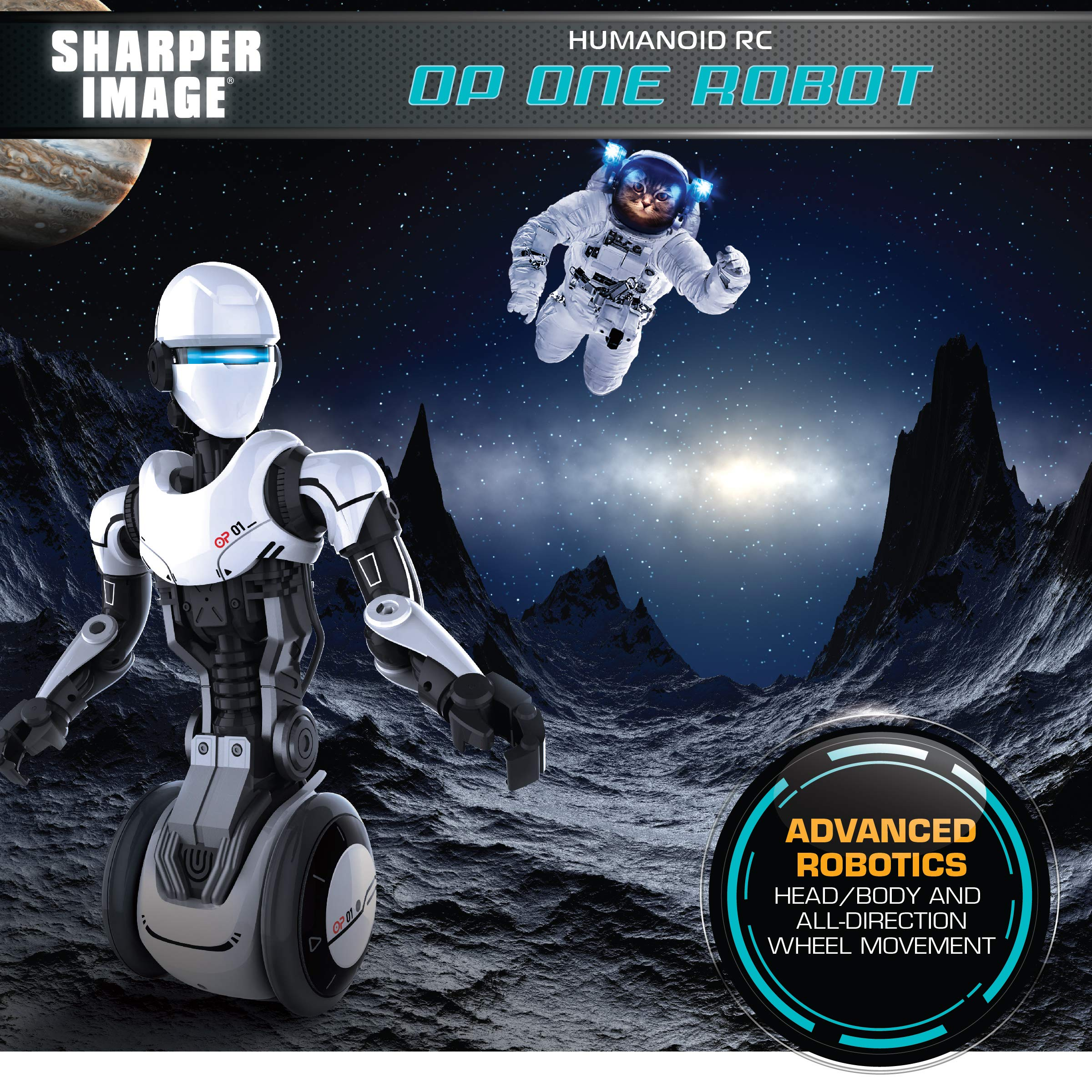 SHARPER IMAGE RC Humanoid OP One Robot, Cool Sci-Fi Android with Moving Arms and Gripping Hands, Dances, Plays, Performs, Spy Mode, Voice, Wireless Control, Full Directional Movement, Battery Power - wiihuu